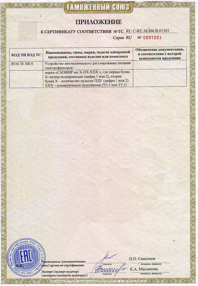 Приложение к Сертификату соответствия № ТС RU C-RU.МЛ66.В.01301